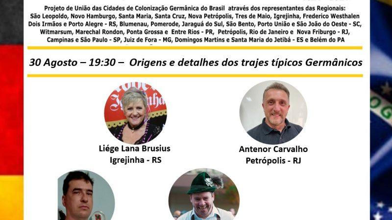 Reassista – Live da Comissão do Bicentenário da Imigração Alemã no Brasil: Origens e detalhes dos trajes típicos germânicos